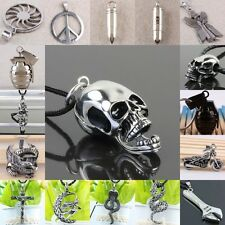 Peace Sign Bullet Motor Eagle Snake Jesus Skull Stainless Steel  Pendant Charms