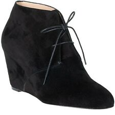 Christian Louboutin COMPACTA Black Suede Lace Up Wedge Ankle Booties Boots $995