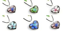 heart flower p867 handmade lampwork Murano glass charm pendant necklace JTV5