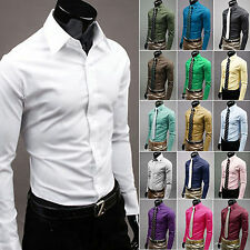 Luxury Mens Stylish Casual Dress Slim Fit Cotton T-Shirts Casual Long Sleeve