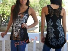 VOCAL CRYSTAL CROCHETED CROSS CORAL TIE DYE HI LO TUNIC TANK TOP SHIRT S M L XL