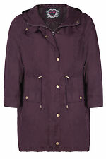 Plus Size Womens Lightweight Parka With Hood And Gold Popper Fastening