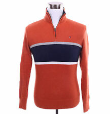 Tommy Hilfiger Men 1/2 Half Zip Mock Turtle Neck Stripe Sweater - Free $0 Ship