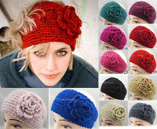 New Crochet Headband Knit hairband Flower Winter Women Ear Warmer Headwrap