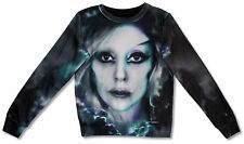 LADY GAGA - SUBLIMATION ALL/OVER BLACK CREWNECK SWEATSHIRT NEW OFFICIAL JUNIORS