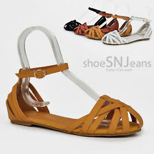 New Adjustable Ankle Strap Buckle Mary Jane Style Sandals Round Toe Flat Shoes