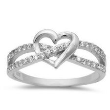 INFINITY LOVE KNOT HEART CZ Sterling Silver Promise Ring Sterling Silver 3-12