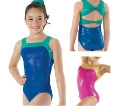 NEW Foil Metallic Vivid Twist Fancy Bow Back Dance Gymnastics Leotard Child
