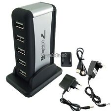 NEW 7 Port USB 2.0 High-Speed HUB Powered+AC Adapter Cable EU/AU Standard