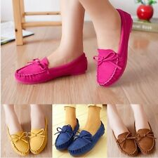 Women Bowknot Suede Round Toe Flats Shoes Moccasin Slip On Loafers Ladies Bow