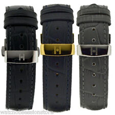 Hirsch DUKE Leather Watch Strap - BLACK BLUE or GREY & Deployment clasp