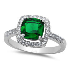 NEW CUSHION CUT EMERALD & CZ .925 Sterling Silver Ring SIZES 5-9
