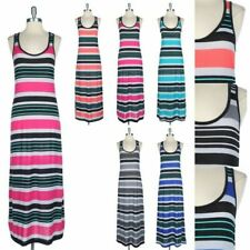 Multi Colors Mixed Striped Sleeveless Racerback Long Maxi Dress Scoop Neck S M L