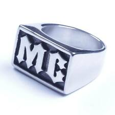 Men's Stainless Steel Initial Letter MC  Harley Biker Ring Size 8-15 USA Seller