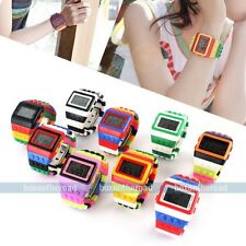 Rainbow Unisex Colorful Silicone Block Brick Style Digital Quartz Wristwatches