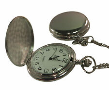 Custom Engraved Chrome fob watch / pocket watch with chain & velvet gift pouch