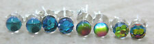 925 STERLING SILVER 4mm Rainbow & Blue Round Small Studs Stud Earrings Girl Teen