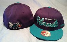 CHARLOTTE HORNETS FLAT BRIM FITTED TEAM COLORS REAR LOGO NBA CAP MITCHELL & NESS