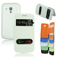 Flip PU Leather w/View Hard Case Pouch For Samsung Galaxy S Duos S7562 New