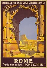 TW92 Vintage Italy Rome French Express Railway Travel Poster A1/A2/A3/A4