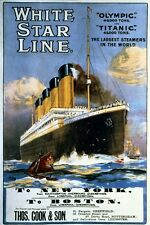 TS59 Vintage White Star Line Titanic & Olympic Cruise Poster Re-Print A3/A4
