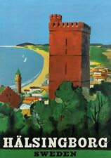 TA16 Vintage Swedish Sweden Halsingborg Travel Poster Re-Print A2/A3/A4