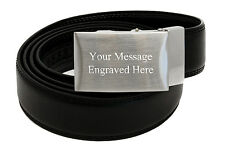 Personalised Black Leather Adjustable Belt, Engraved Buckle with Any Message
