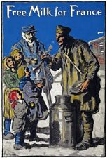 W65 Vintage WWI Free Milk For France War Relief Poster WW1 A1/A2/A3/A4