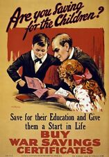 WA14 Vintage WWI Save For Your Children War Savings Poster WW1 A1/A2/A3/A4