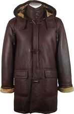 UNICORN Mens Hooded Sheepskin Duffle Coat Brown/Ginger Fur Leather Jacket #CB