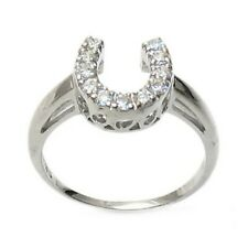 925 Sterling Silver Lucky Horseshoe CZ Ring