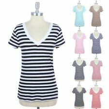 All Over Striped V Neck Short Sleeve Basic T Shirt Top Casual Easy Wear S M L