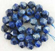 Diamond Nugget Faceted Bule Lapis Lazuli Gemstone Beads15""