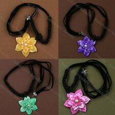 50mm 3-Layer MOP Shell Carved Flower Pendant Bead Knitted Necklace Cord Jewelry