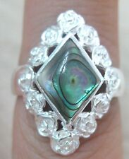 NEW 925 STERLING SILVER Diamond NZ PAUA SHELL Abalone Roses ring size L P R