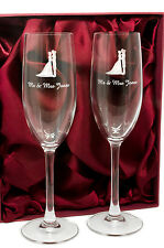 Personalised Pair of Mr and Mrs Champagne Glasses Flutes, Engraved Wedding Gift