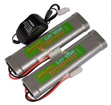 2x 9.6V NiMH 3800mAh Super Power Rechargeable Battery Pack Car Tamiya