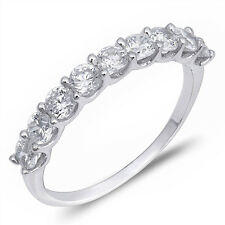 Large Round Cubic Zirconia Shared Prong Band .925 Sterling Silver Ring Size 4-10