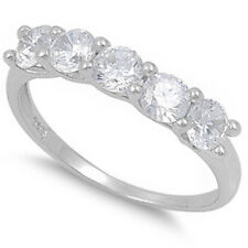 1.25ct Round CZ shared prong Wedding Band .925 Sterling Silver Ring Sizes 4-10