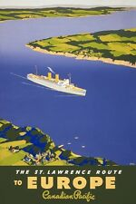 TX317 Vintage 1940's St. Lawrence Route To Europe Ship Travel Poster A1/A2/A3/A4