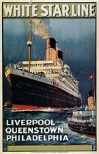 TX228 Vintage White Star Line Liverpool Shipping Cruise Travel Poster A3/A4