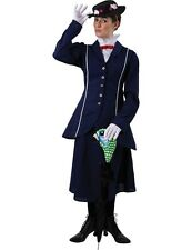 Deluxe Mary Poppins Nanny Fancy Dress Costume Edwardian Adult Womens Sizes 10-16