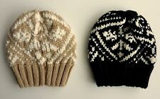 GAP Womens BLACK BEIGE Jacquard Knitted Chunky Ribbed Beanie Hat £14.95