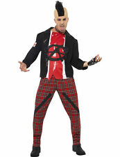 Mens 1980s 80s Mr Anarchist Punk Rock Star Rocker Fancy Dress Costume