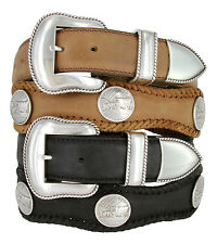 """Oregon Trail - Western Coin Concho Leather Belt 1-1/2"""" Wide, Black Brown"""