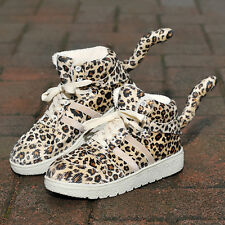 Womens Fashion Tail Leopard Lace up Casual Atheletic Suede Flat Shoes Sneakers