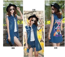2014 New Korea Style Fashion Slim Denim Vest Cloak Jean Tank Coat Women NY82