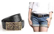 Womens Hollow Belt Out Buckle Leather Flower Print Emboss Waist Strap Waistband