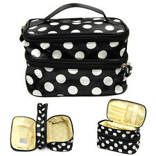 Hanging Toiletry Travel Double Layer Case Cosmetic Makeup Dot Zipper Bag Holder