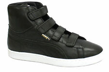 Puma Suede Mid V Leather Mens Hi Tops Trainers Black Velcro (352000 02  D23)